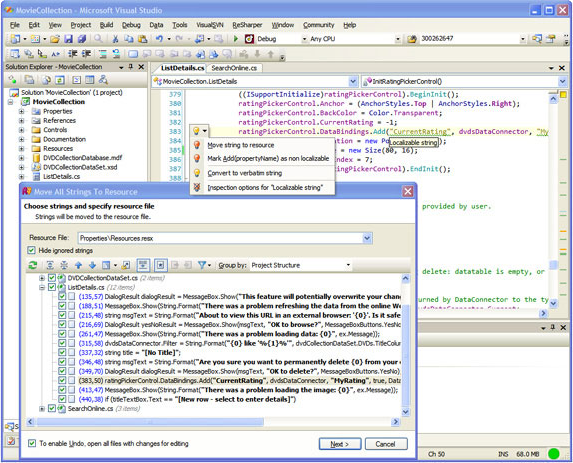 Development Software, RGreatEx 1.1 - .NET Localization Tool for Visual Studio Screenshot