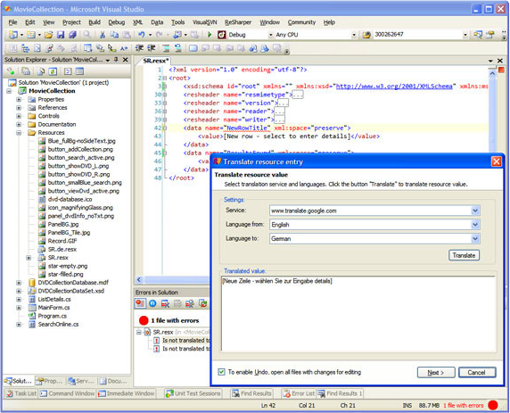 RGreatEx 1.1 - .NET Localization Tool for Visual Studio, Development Tools Software Screenshot