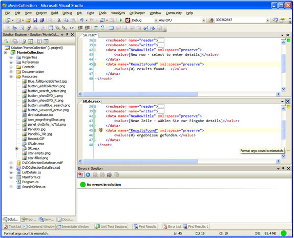 Development Tools Software, RGreatEx 1.1 - .NET Localization Tool for Visual Studio Screenshot