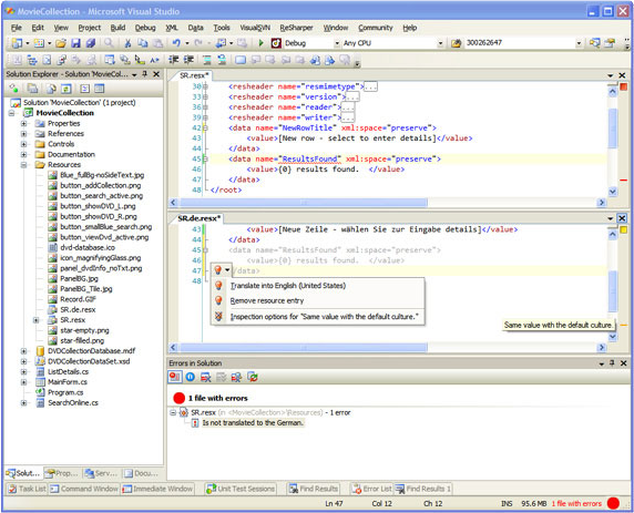 RGreatEx 1.1 - .NET Localization Tool for Visual Studio, Development Software Screenshot