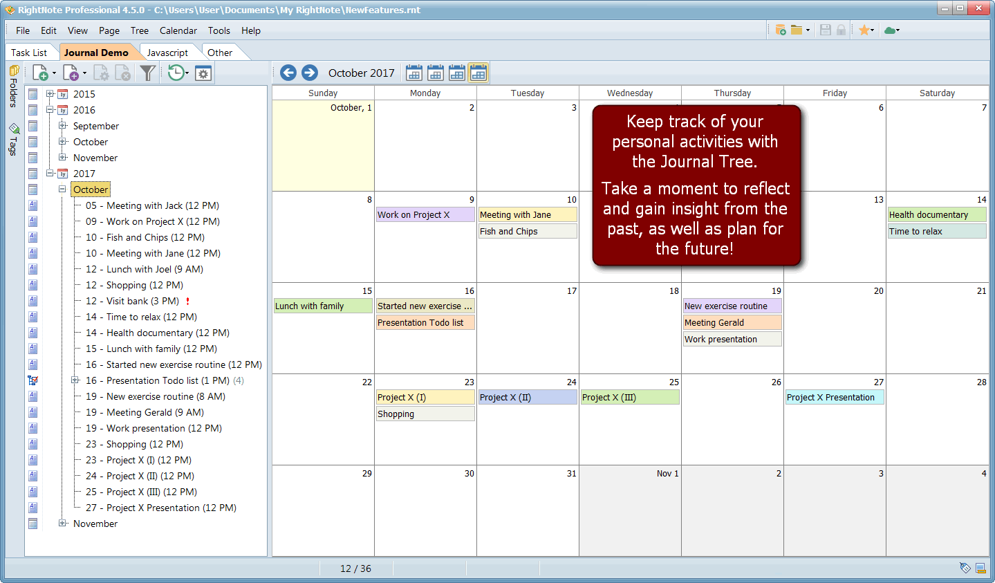 Notes Software, RightNote Screenshot