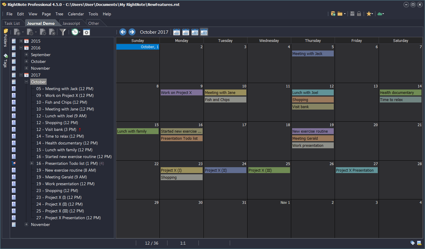Productivity Software, RightNote Screenshot