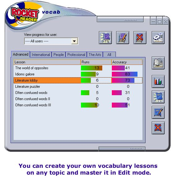 RocketReader Vocab, Hobby, Educational & Fun Software Screenshot