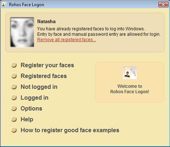 Rohos Face Logon Screenshot