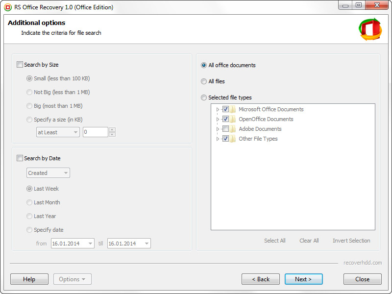 RS Office Recovery, Recovery Software Screenshot