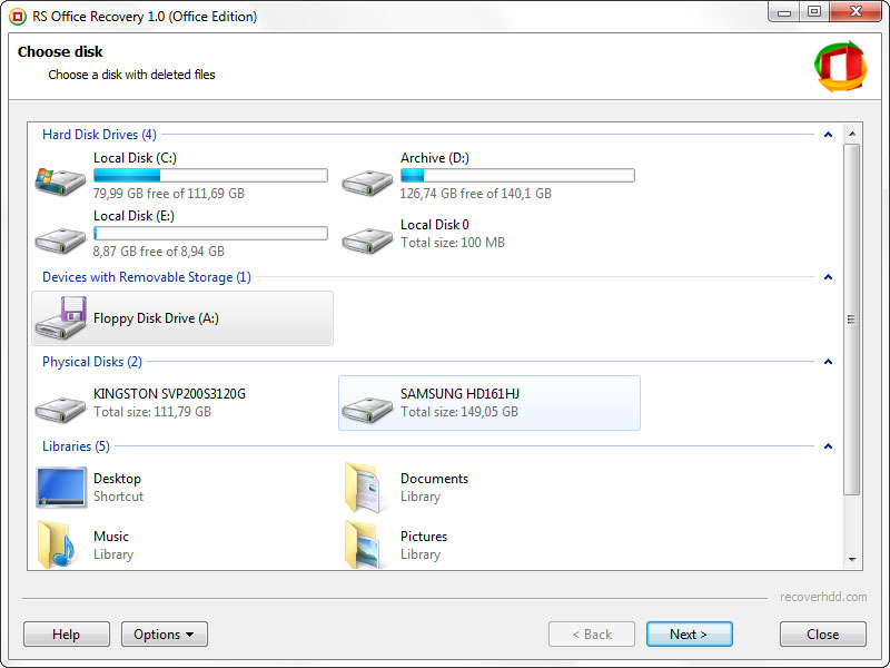 Recovery Software, RS Office Recovery Screenshot