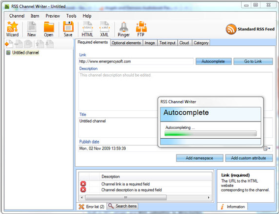 RSS Channel Writer 2.0, Internet Software Screenshot