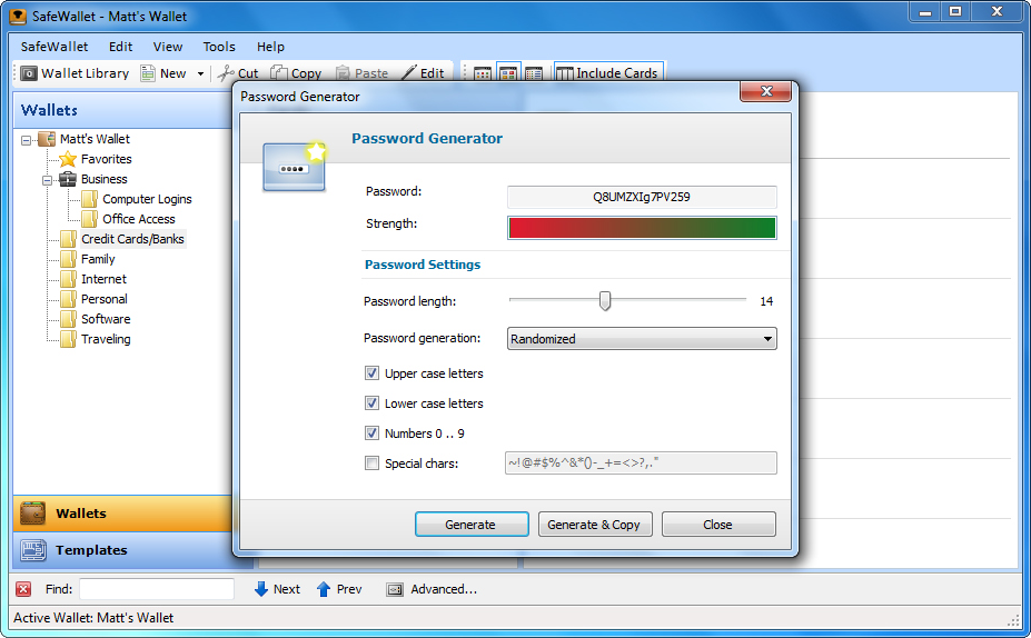 SafeWallet, Password Manager Software Screenshot