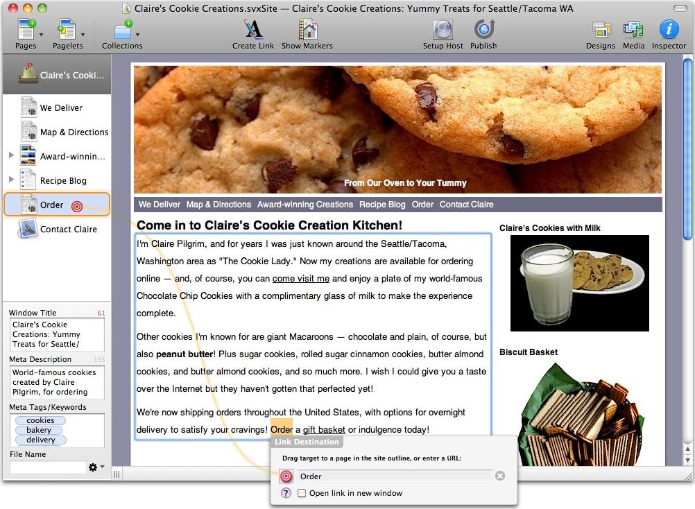 Sandvox, Website Builder Software Screenshot