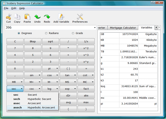 Productivity Software, Scabery Expression Calculator 2 Screenshot
