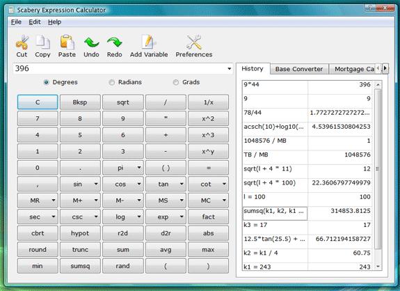 Scabery Expression Calculator 2, Calculator Software Screenshot