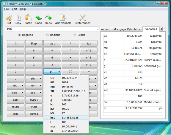 Scabery Expression Calculator 2, Productivity Software Screenshot