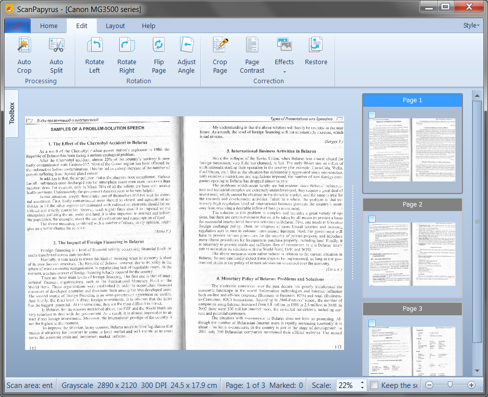 ScanPapyrus, PDF Conversion Software Screenshot