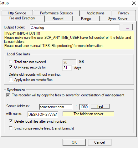 Screen Anytime Server Edition, Activity Monitoring Software Screenshot