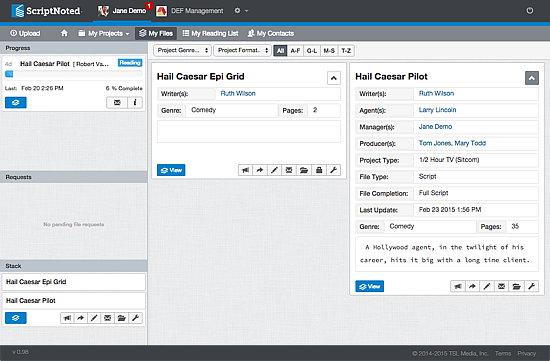 ScriptNoted, Project Management Software Screenshot