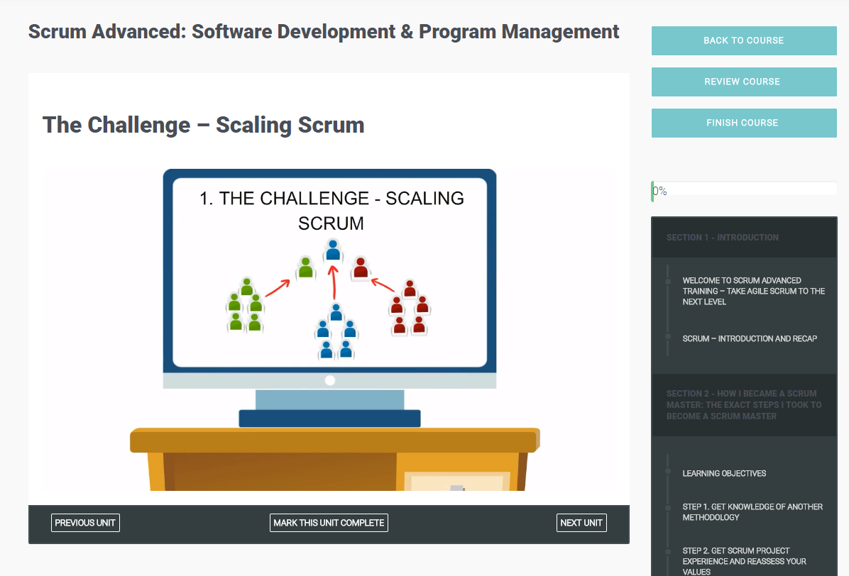 Scrum Advanced: Software Development & Program Management, Learning and Courses Software Screenshot