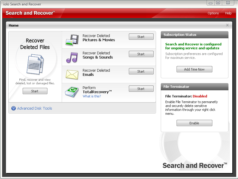 Search and Recover Screenshot