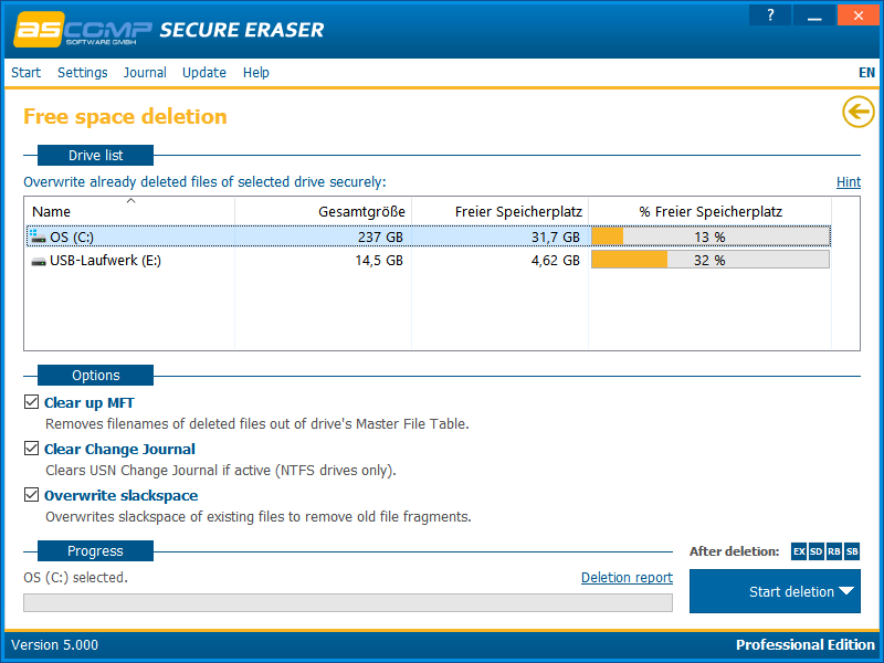 Secure Eraser, Security Software Screenshot