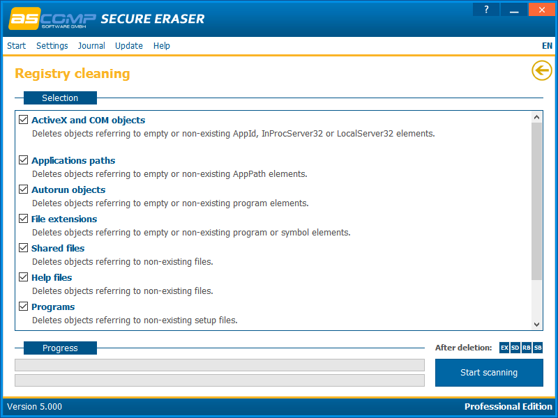 Deletion Software, Secure Eraser Screenshot
