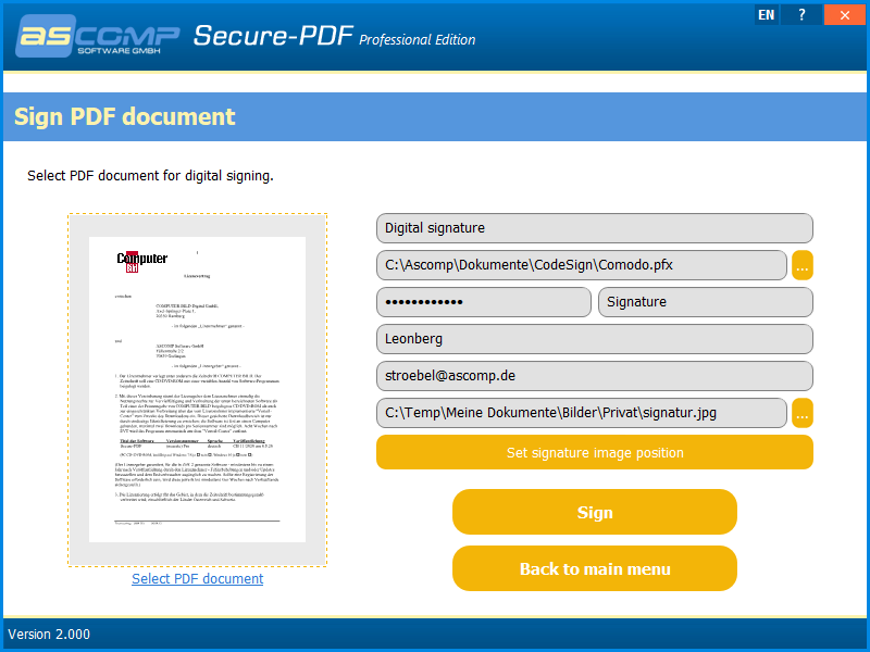 Secure-PDF, PDF Utilities Software Screenshot
