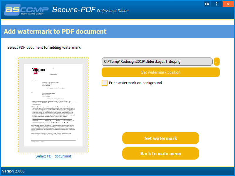 Secure-PDF, Business & Finance Software Screenshot