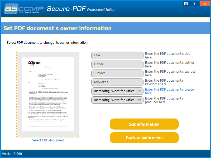 PDF Utilities Software, Secure-PDF Screenshot