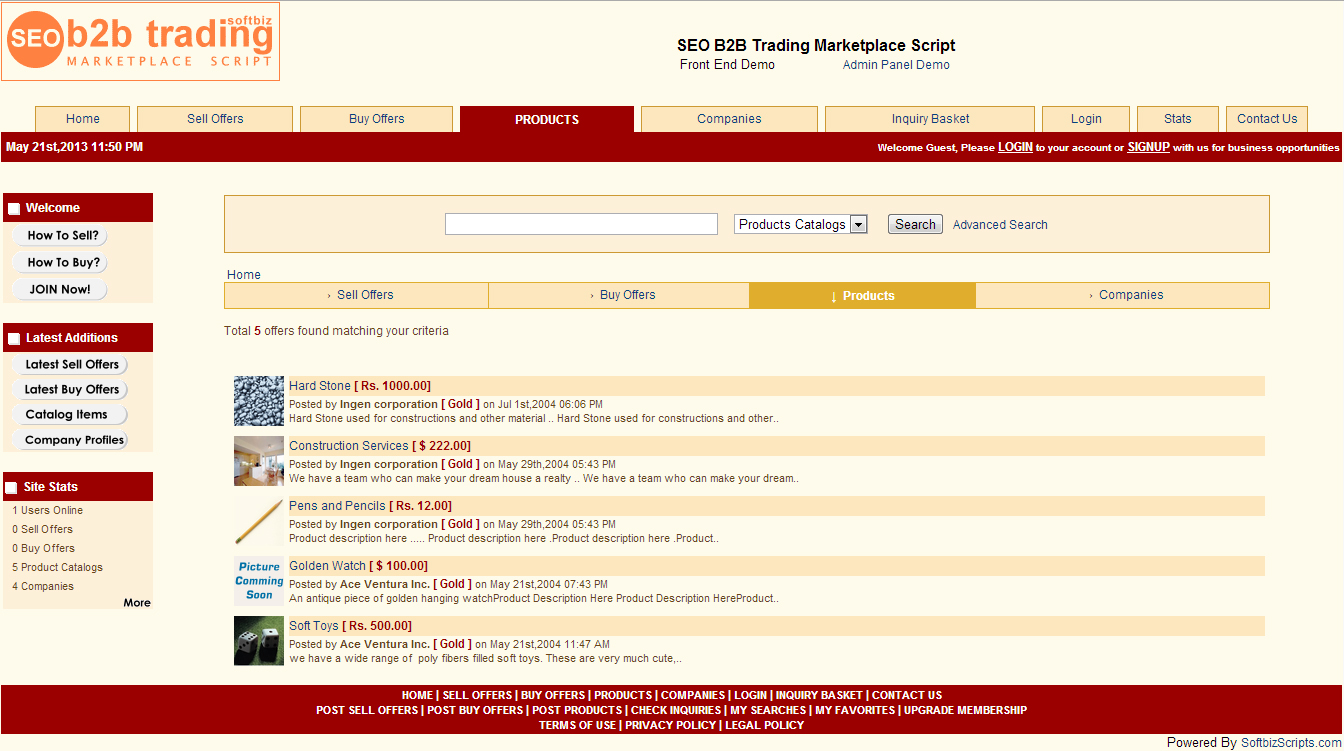 SEO B2B Marketplace Script, Development Software Screenshot