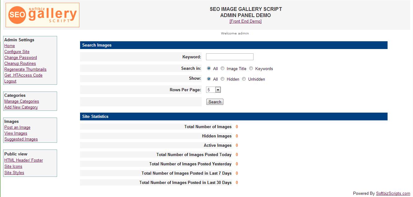 SEO Gallery Script, Website Builder Software Screenshot