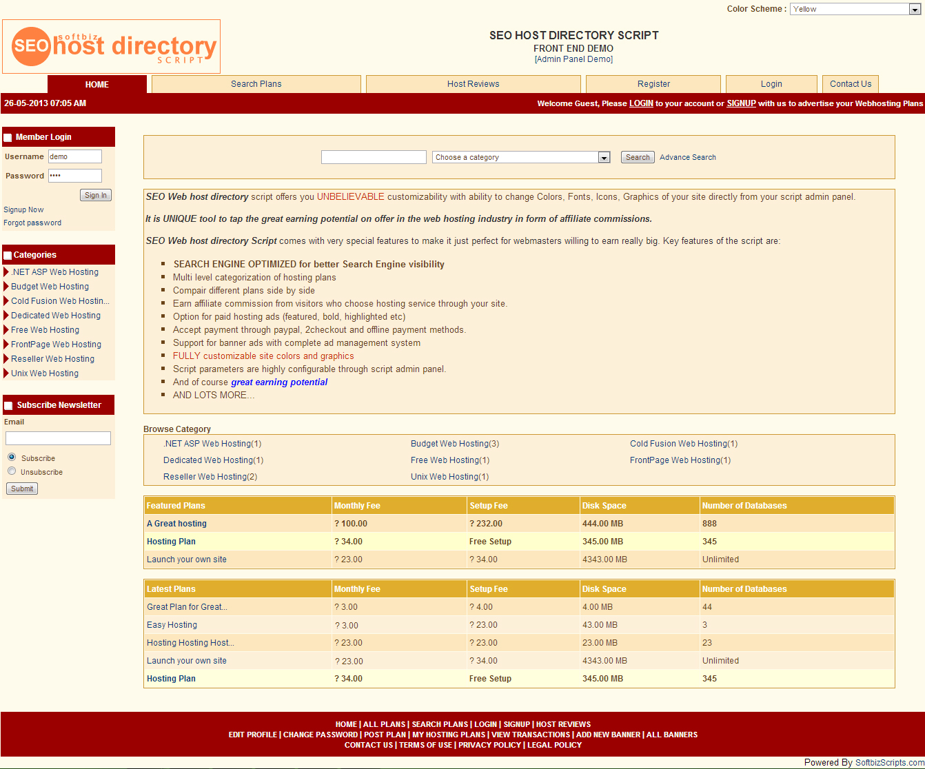 SEO Host Directory Script Screenshot