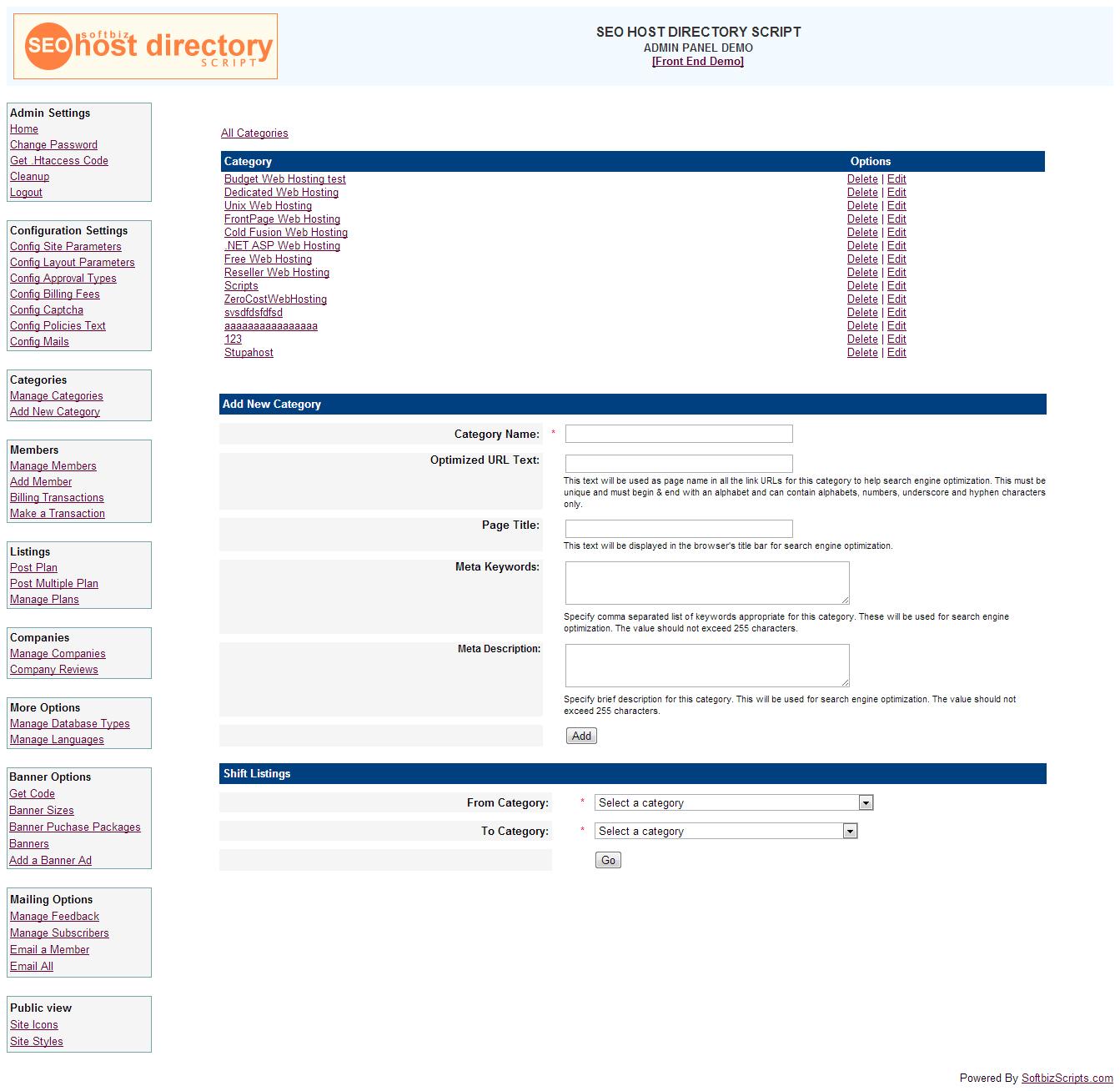 SEO Host Directory Script, Development Software Screenshot