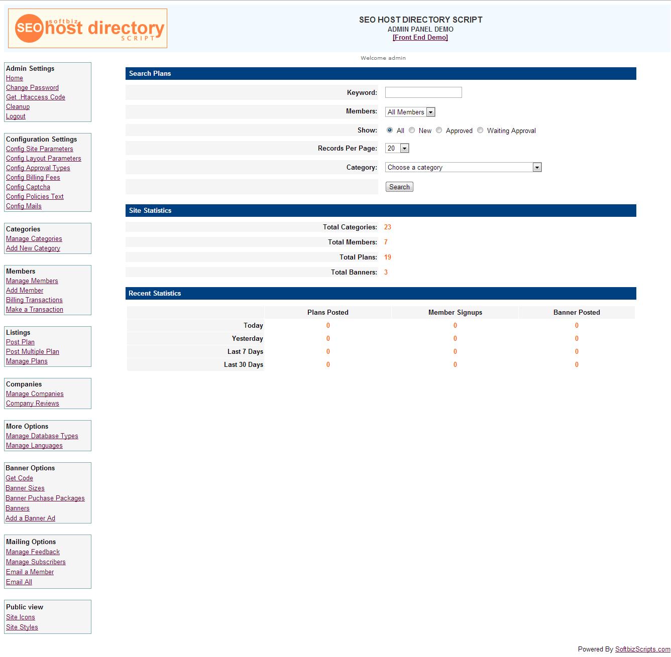 SEO Host Directory Script, Website Builder Software Screenshot