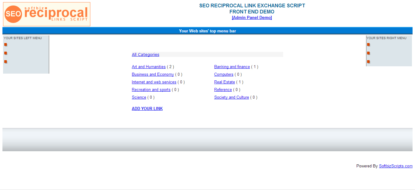 SEO Link Exchange Script Screenshot