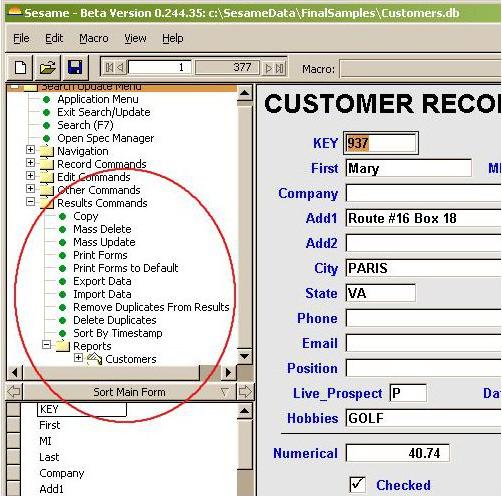 Sesame Database Manager Personal, Development Software Screenshot