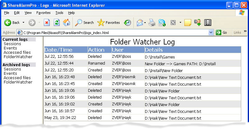 Access Restriction Software, ShareAlarmPro Screenshot