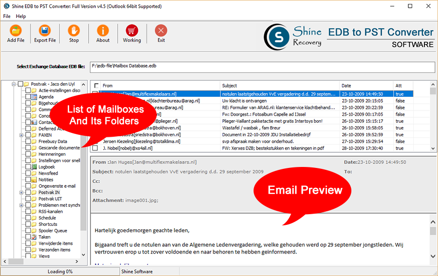 Shine EDB to PST Converter Screenshot