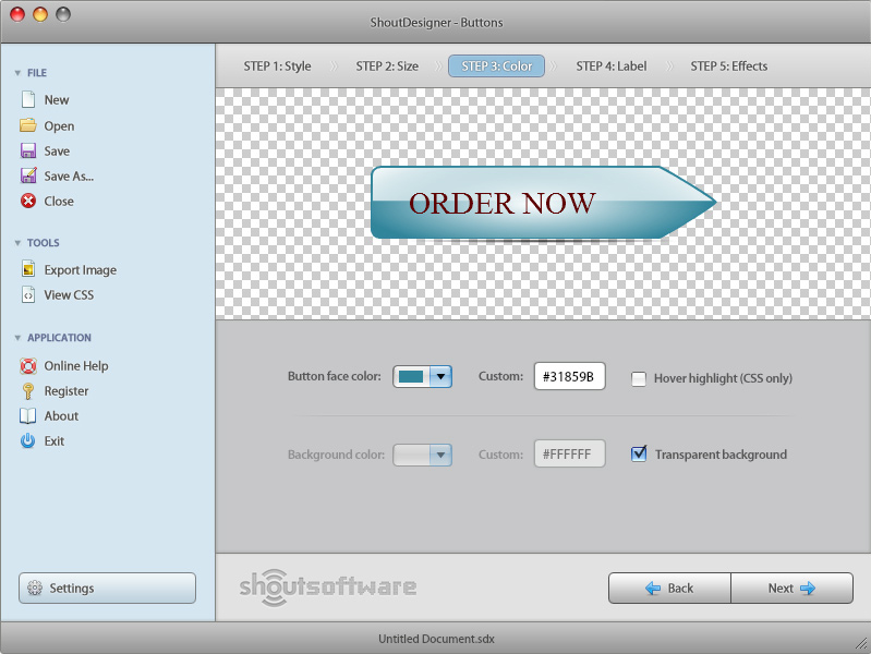 ShoutDesigner, Graphic Design Software Screenshot