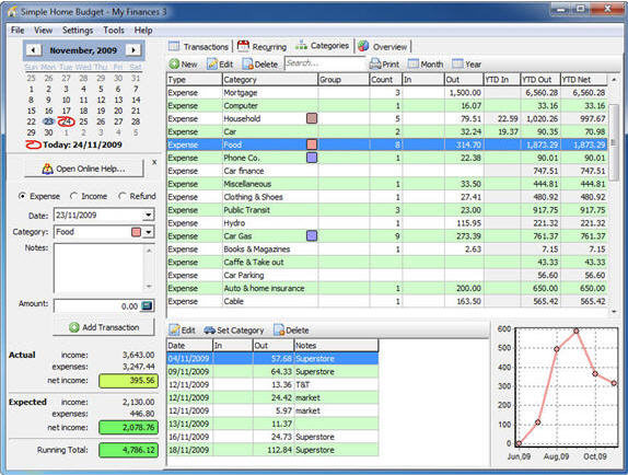 Simple Home Budget, Personal Finance Software Screenshot