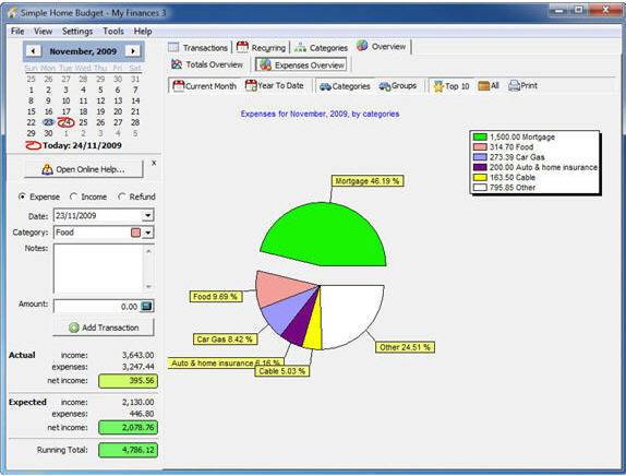 Simple Home Budget, Business & Finance Software Screenshot