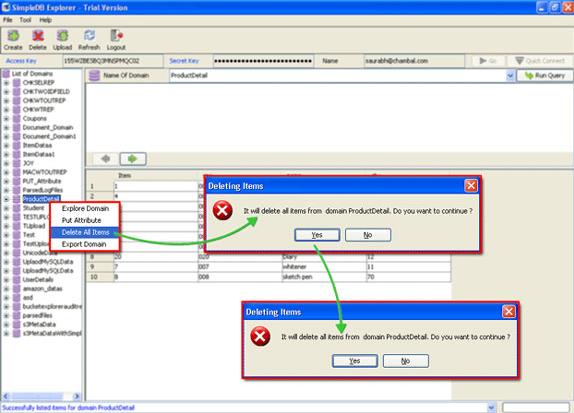 Development Software, SimpleDB Explorer Screenshot