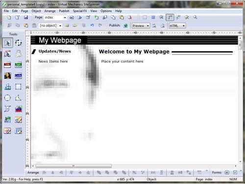 Website Builder Software, SiteSpinner / SiteSpinner Pro Screenshot