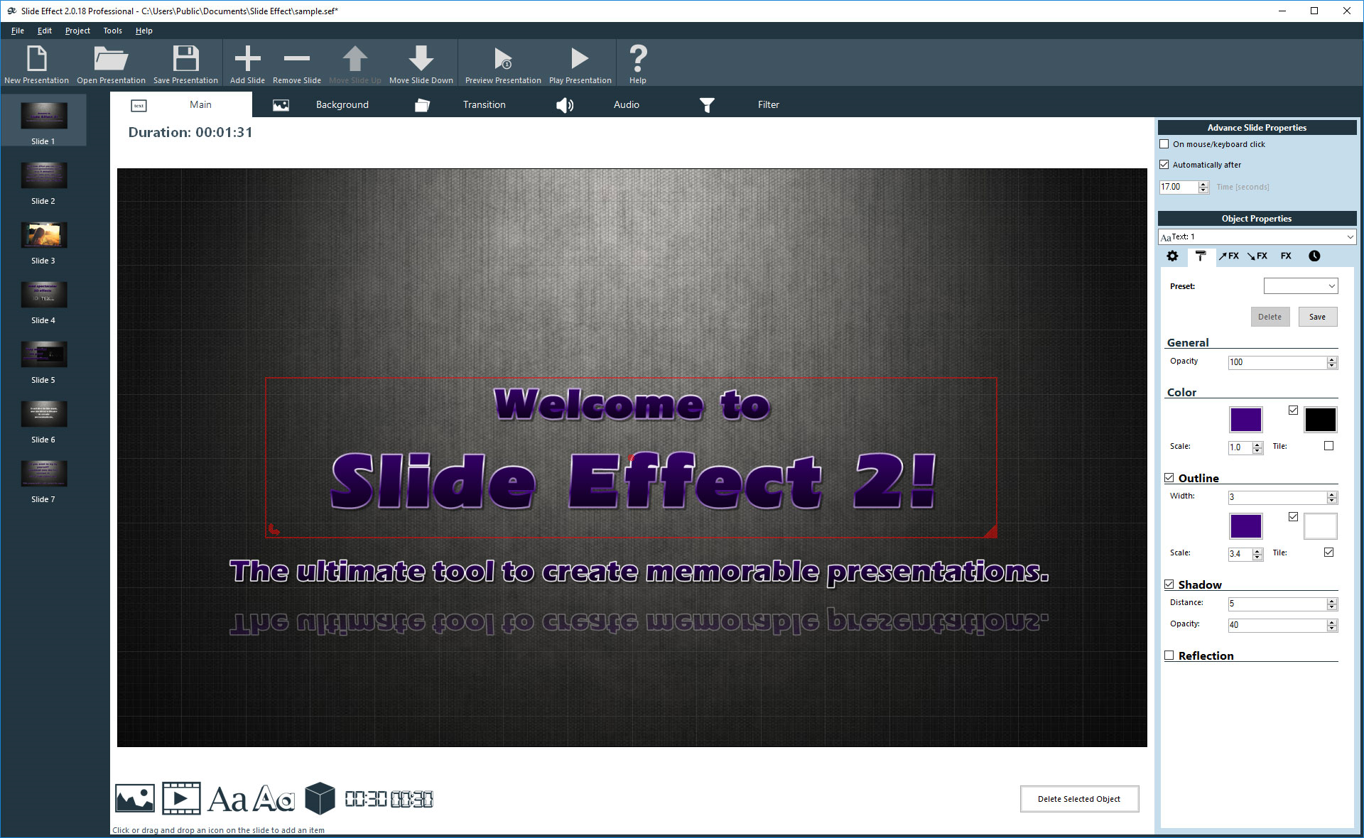 Slide Effect Standard Screenshot