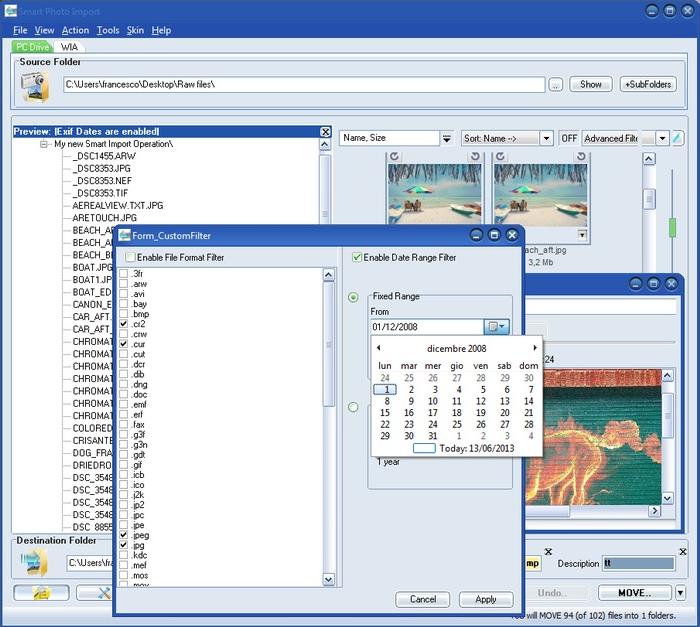 Smart Photo Import, Thumbnail Software Screenshot
