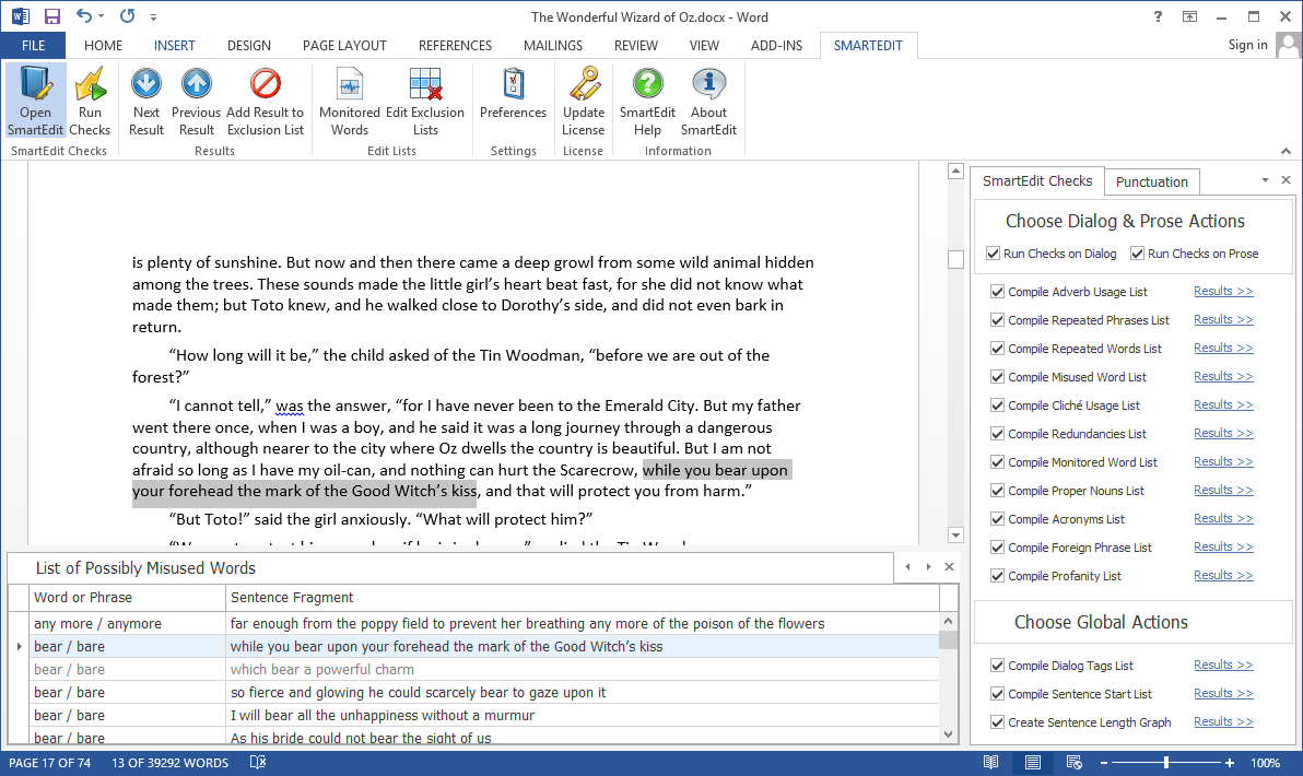 SmartEdit for Word, Business & Finance Software, Word Processing Software Screenshot