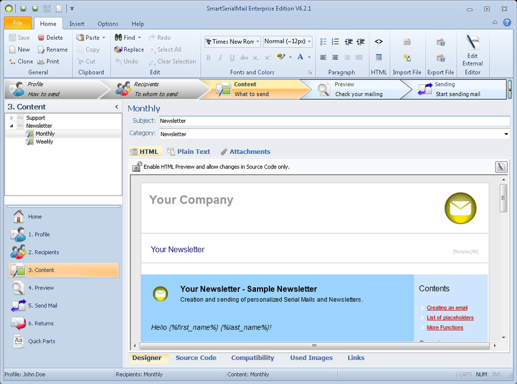 Bulk Mailer Software, SmartSerialMail Screenshot