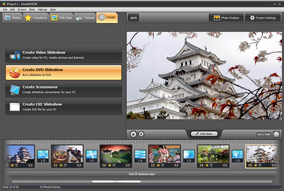 Slideshow Software, SmartSHOW Screenshot