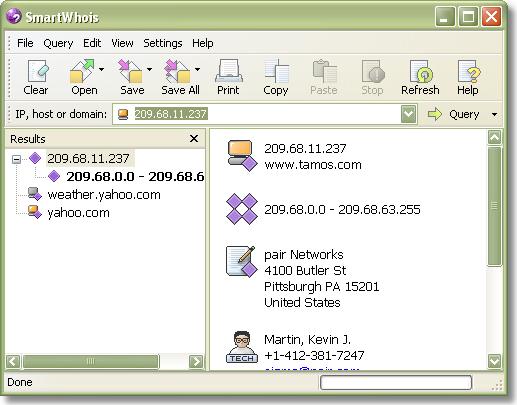 Network Software, SmartWhois Screenshot