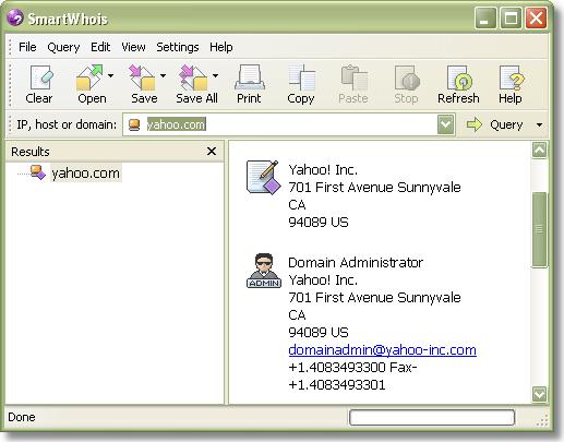 SmartWhois, Internet Software Screenshot