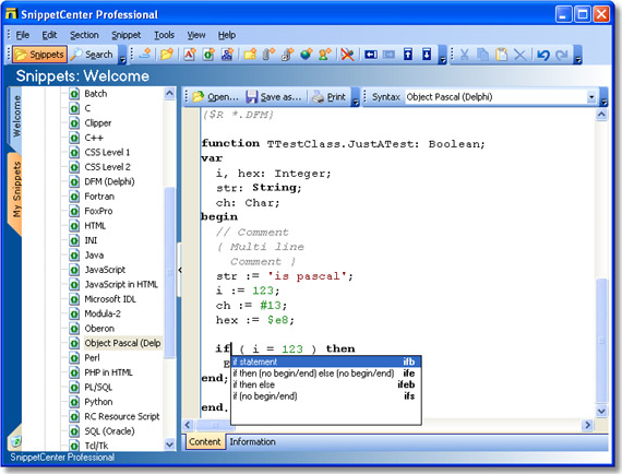 SnippetCenter Professional, Notes Software Screenshot