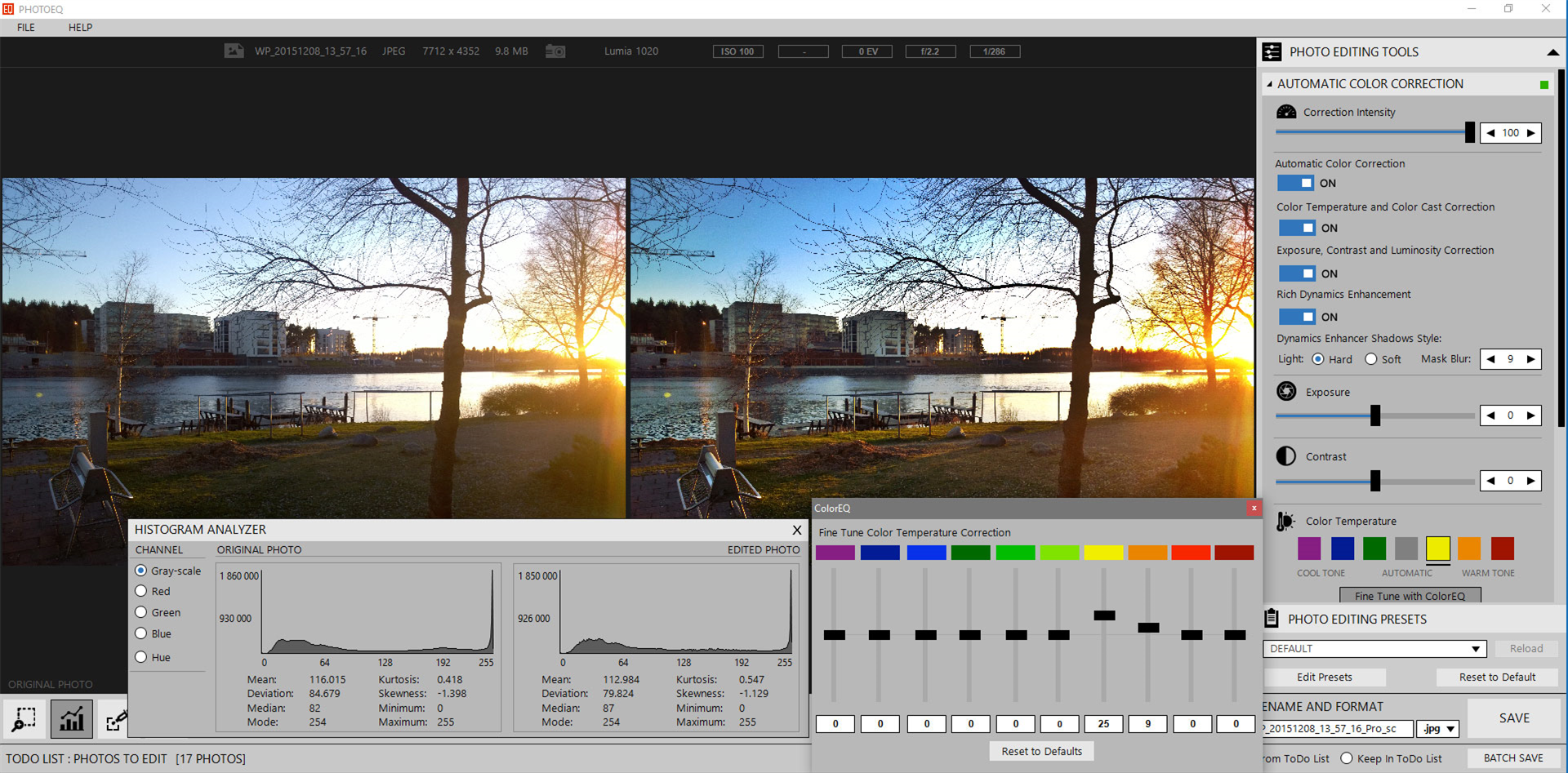 SoftColor PhotoEQ, Photo Editing Software Screenshot