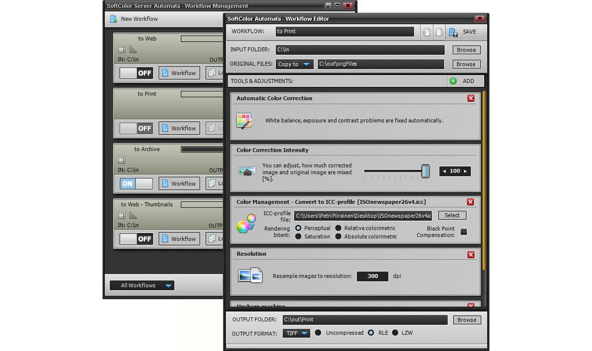 Photo Editing Software, SoftColor Server Screenshot